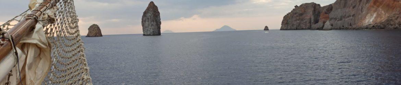 Schooner sailing ship Sigismondo Aeolian Islands